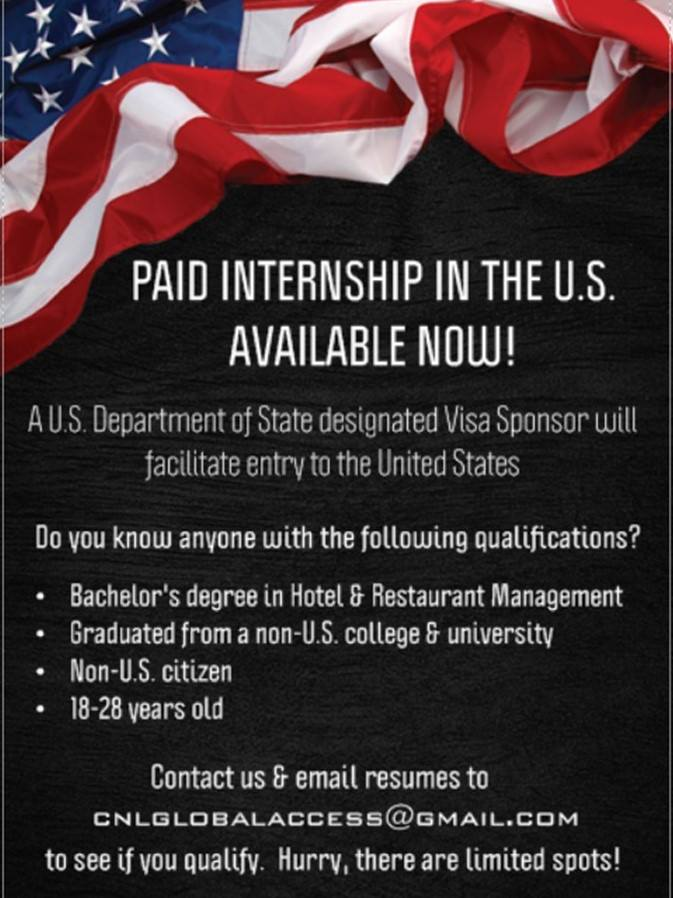 Paid Internship In The U.S. for HRM & Culinary Arts Students from the Philippines